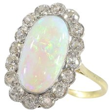 Vintage Opal and Diamond Engagement Ring, 1920s - FREE Resizing*