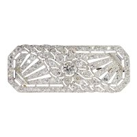 French Platinum Art Deco Diamond Brooch, 1920s