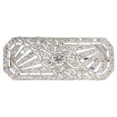 French Platinum Art Deco Diamond Brooch, 1920s
