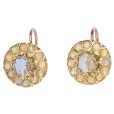Victorian Gold Earstuds set with Large Rose Cut Diamonds and 24 Opals, 1880s