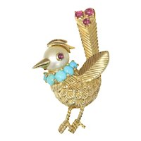 Vintage Fanciful Fifties Gold Bejeweled Bird Brooch, 1950s