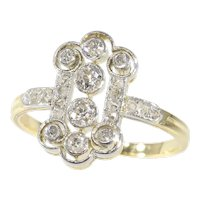 Vintage Diamond Art Deco Engagement Ring, 1920s - FREE Resizing*