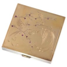 French Silver Powder Box with Interior Mirror and Gold and Rubies Decoration of Birds of Paradise, 1940s