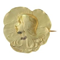 Art Nouveau Gold Lady's Head Brooch, Signed Rasumny, 1900s