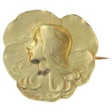 Art Nouveau Gold Lady's Head Brooch, Signed Rasumny, 1900s