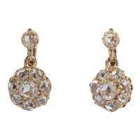Victorian Antique 18 Karat Gold Rose Cut Diamond Earrings, 1880s