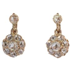 Victorian Antique 18 Karat Gold Rose Cut Diamond Earrings, 1880s