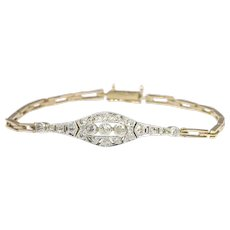 Vintage Diamond Gold Art Deco Bracelet, 1920s