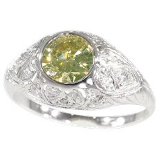 Vintage Fifties Art Deco Engagement Ring with Natural Fancy Colour Brilliant, 1950s - FREE Resizing*