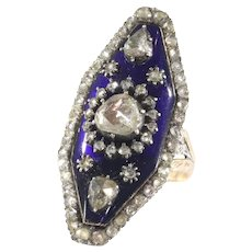 Magnificent Victorian Rose Cut Diamond Ring with Blue Enamel, 1830s - FREE Resizing*