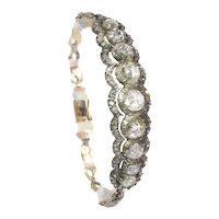 Typical Dutch Large Rose Cut Diamond Bracelet in Victorian Style, 1955s