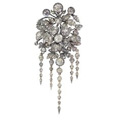 Impressive Antique Flower Trembleuse Corsage Brooch fully embellished with high quality Rose Cut Diamonds, 1860s