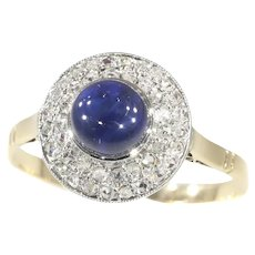 Vintage Art Deco Diamond and High Domed Cabochon Sapphire Engagement Ring, 1920s - FREE Resizing*