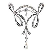 Most Elegant Belle Epoque Diamond Pendant Brooch, 1890s