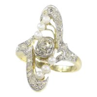 Magnificent Art Nouveau Diamond and Pearl Engagement Ring, 1900s - FREE Resizing*