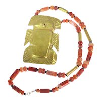 1200 Years Old Pre-Columbian Gold Pendant with Carnelian Necklace, 400 CE