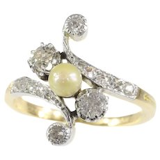 Belle Epoque Diamond and Pearl Cross Over Engagement Ring, 1900s - FREE Resizing*