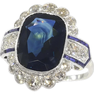Vintage Platinum Art Deco Diamond Ring with Natural Untreated Sapphire of 8.59 Carat, 1930s - FREE Resizing*