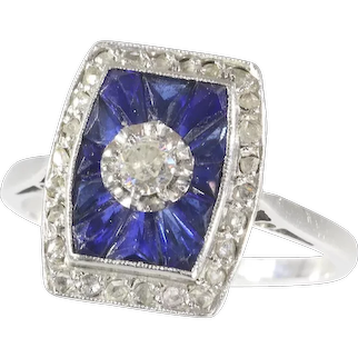 French Art Deco Vintage Diamond and Sapphire Engagement Ring, 1920s - FREE Resizing*