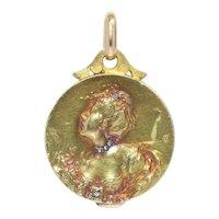 French Art Nouveau 18 Karat Yellow Gold Locket with Hidden Mirror, 1900s