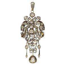 Impressive Antique Rose Cut Diamond Brooch Pendant With Black Enamel, 1830s