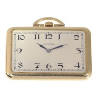 Rare Vintage Art Deco Rectangular 18K Gold Longines Pocket Watch with Matching Fob, 1918s