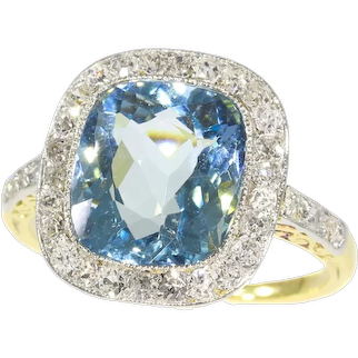 Art Deco Vintage Belle Epoque Engagement Ring with Diamonds and High Quality Aquamarine, 1920s - FREE Resizing*