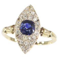 Early Victorian Diamond and Natural Blue Sapphire Engagement Ring, 1840s - FREE Resizing*