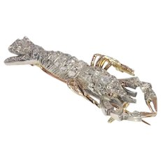 Antique Victorian Crayfish Brooch Fully Embelished with Diamonds, 1890s