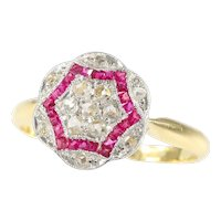 Vintage Art Deco Diamond and ruby engagement ring, 1920s - FREE Resizing*