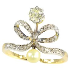 Victorian Vintage Diamond Bow Engagement Ring, 1890s - FREE Resizing*