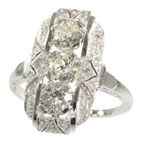 Vintage Art Deco White Gold Diamond Engagement Ring, 1920s - FREE Resizing*