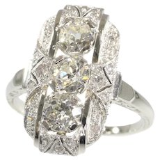 Vintage Art Deco White Gold Diamond Engagement Ring, 1920s - FREE Resizing*