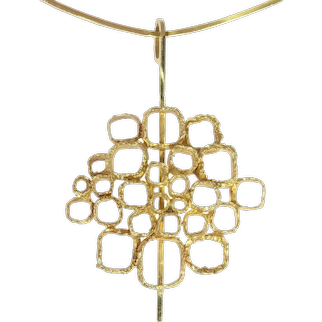 Vintage Sixties Gold Art Jewellery Pendant on Stiff Gold Wire Necklace, 1960s
