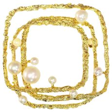 Vintage Sixties 18 Karat Yellow Gold Arty Brooch with Pearls, 1960s