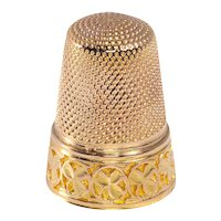 French Victorian 18K Gold Thimble with Three Leaf Clover Motives, 1890s