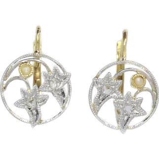 Vintage French Romantic Belle Epoque Diamond and Pearl Earrings with Ivy Motive, 1900s
