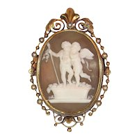 Victorian Shell Cameo Brooch Pendant - Depicting Cupid and Bacchus Stomp Grapes, 1880s