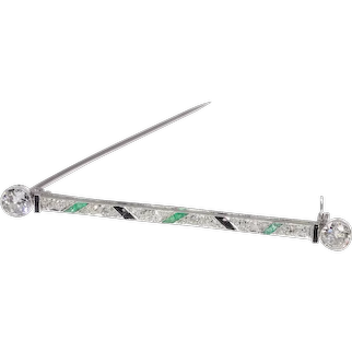 Vintage Art Deco Platinum Diamond Bar Brooch also set with Onyx and Emeralds, 1920s