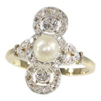 Vintage Belle Epoque Pearl and Diamond Engagement Ring, 1910s - FREE Resizing*