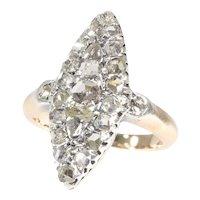 Antique Boat Shaped Diamond Engagement Ring, 1890s - FREE Resizing*