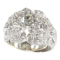 Vintage Fifties Platinum Diamond Cocktail Ring, 1950s - FREE Resizing*