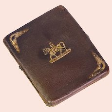 Dutch antique leather wallet with gold fittings and horse back riding motif