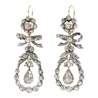 Antique 19th Century long pendent chandelier diamond earrings