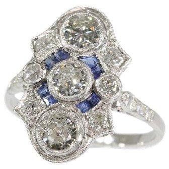 Art Deco Sapphire and Diamond Engagement Ring ca.1920