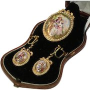 French Antique Enamel Miniature and Pearl Gold Set c.1870