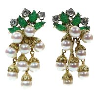 French Estate Gold and Platinum Diamond and Pearl Earrings with Green Leaves, 1980s               (ref. 16291-0077)