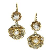 Victorian Diamond and Gold Drop Earrings ca.1870