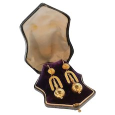 Victorian Gold Long Dangle Earrings c.1870
