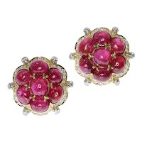 Estate Vintage Ruby and Diamond Earrings with over 14 Crt of Untreated Rubies, 1950s               (ref. 17097-0385)